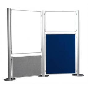 Display panel, 90x120 cm, kétoldalas, textil, szürke/kék