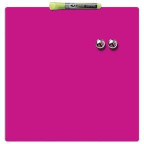 Üzenőtábla, mágneses, írható, rózsaszín, 36x36 cm, REXEL