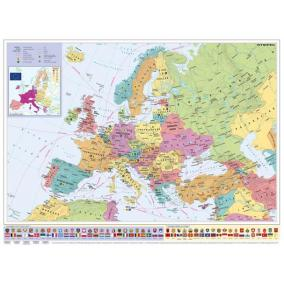 Falitérkép, 70x100 cm, fémléces, Európa országai és az Európai Unió, STIEFEL