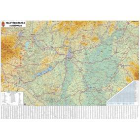 Falitérkép, 70x100 cm, fémléces,  Magyarország autótérképe,  STIEFEL