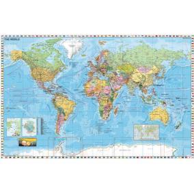 Falitérkép, 136x96 cm, fémkeret, tűzhető, Föld országai, STIEFEL