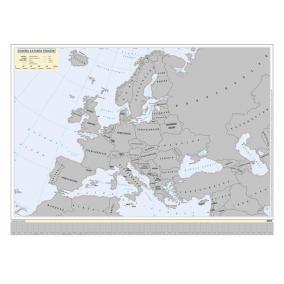 Kaparós Európa országai térkép, 78x57 cm, STIEFEL, ezüst bevonat