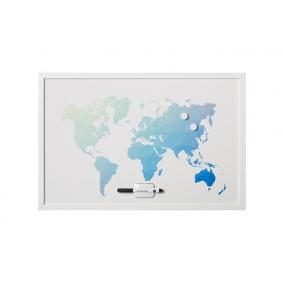 Üzenőtábla, mágneses, 60x40 cm, fehér keret,  VICTORIA,