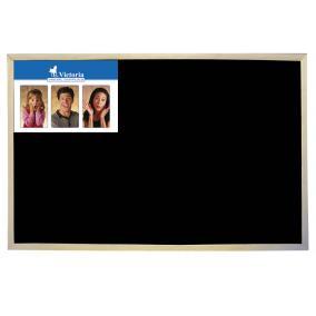 Krétás tábla, fekete felület, nem mágneses, 40x60 cm, fakeret, VICTORIA