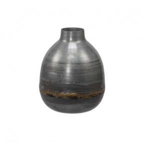 Váza fém 11x15cm szürke/arany