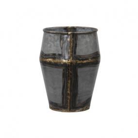 Váza fém 15x20cm szürke/arany