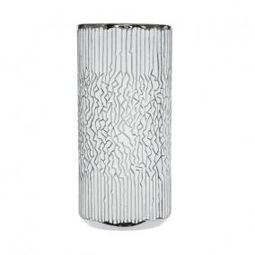 Váza mintás kerámia 14 cm x 14 cm x 33 cm fehér,ezüst