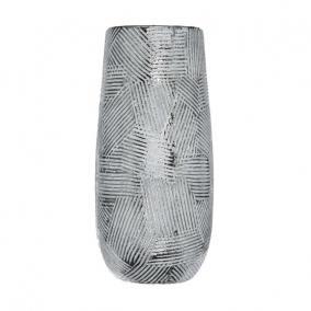 Váza mintás kerámia 15 cm x 15 cm x 34,5 cm fehér,ezüst