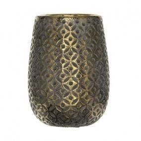 Váza mintás kerámia 17 cm x 17 cm x 23,5 cm arany