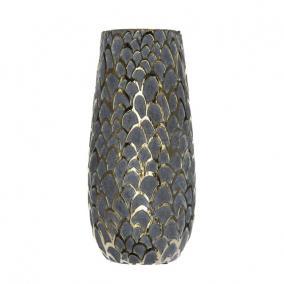 Váza pikkely mintás kerámia 11,5 cm x 11,5 cm x 23 cm szürke,arany