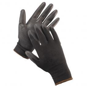 Védőkesztyű fekete mártott HS-04-003 PE/PU  8