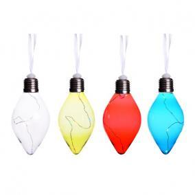 Villanykörte világító dekoráció, csepp alakú, akasztós műanyag 14cm átlátszó/sárga/pink/kék 4 féle [1 db]