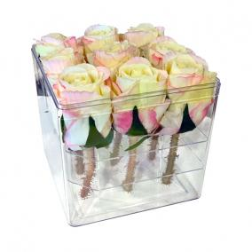 Virágbox 4x4 műanyag 19x19cm átlátszó