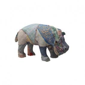 Víziló patchwork textil 30 cm x 18cm színes