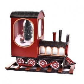 Vonat világító, havazó, zenélő -elektromos műanyag, fa 51x20x46cm piros, fekete