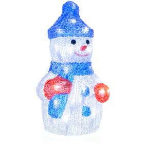 Világító akril hóember seprűvel, 30 LED, hideg fehér, Retlux RXL 254