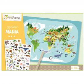 Avenue Mandarine  KC042C Kreatív készlet - A világ állatai satírozós matricák