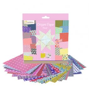 Avenue Mandarine 52507O Origami Papír virágos, 20 cm x 20 cm, 60 lap 70g
