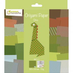Avenue Mandarine OR512C Origami Papír, Dino, 20 cm x 20 cm, 60 lap, 70g