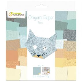 Avenue Mandarine OR513C Origami Papír, Furs, 20 cm  x 20 cm, 60 lap 70g