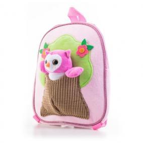 Plüss baglyos hátizsák, rózsaszín