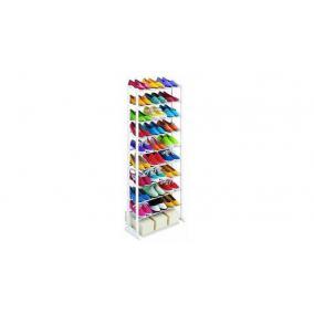 Cipőtároló 10 soros, fehér, 51,5 x 16,3 x 7 cm, műanyag és fém