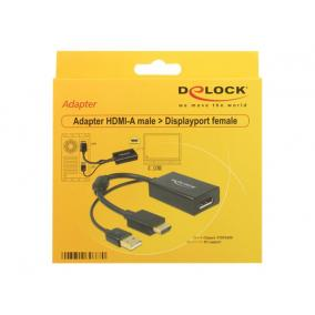 DELOCK 62667 Delock adapter HDMI-A male > Displayport 1.2 female+USB power