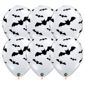 Denevér Mintás - Bats Diamond Clear Lufi Halloween-ra (6 db/csomag) 28cm
