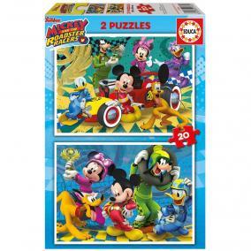 Educa Disney Mickey Egér autóverseny puzzle, 2 x 20 darabos
