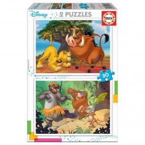 Educa Oroszlánkirály és A dzsungel könyve puzzle, 2x20 darabos