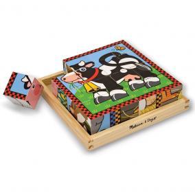 Fa  kocka puzzle 16 db-os - Farm állatok Melissa & Doug