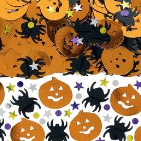 Fekete Pók és Sütőtök Mintájú Konfetti Fényes Csillagokkal és Pöttyökkel Halloweenre - 14 gramm