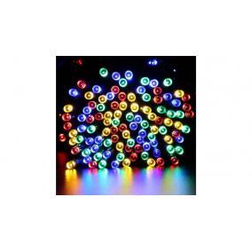 Kerti fényfüzér, 100 LED-es napelemes, színes, 20 m