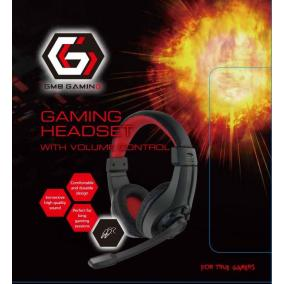 Gembird Gaming microphone & stereo headphones with volume control, black/red