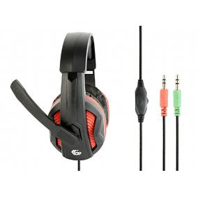 Gembird GHS-03 gaming fejhallgató hangerő szabályzóval, matt fekete-piros