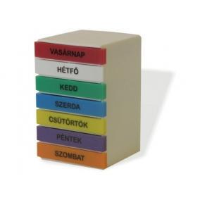 Gyógyszeradagoló heti torony, színes feliratokkal téglatest