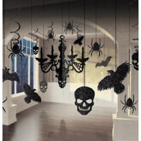 Halloween Csilláros Glitteres Függődekorációs Szett - 11 db-os