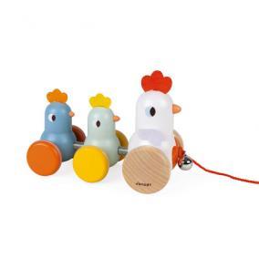 Húzható tyúk és csirke 08259 Janod