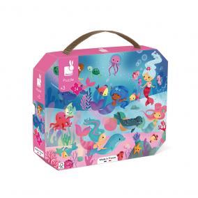 Janod 02613 Sellő puzzle bőröndben - 24 db