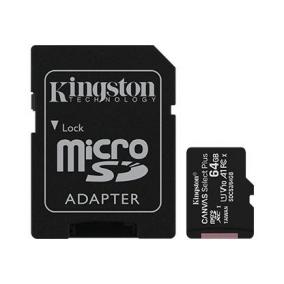 Kingston 64GB micSDXC Canvas Select Plus 100R A1 C10 Kártya+ ADP