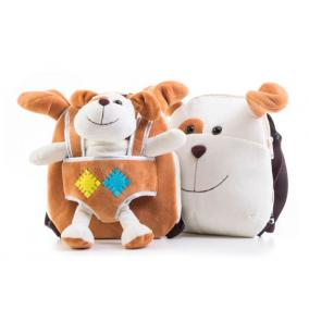 Plüss kutyusos hátizsák, kétoladalas, barna