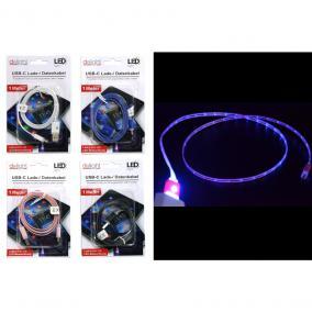 Töltő és adatkábel LED-es, USB-C, 1 m (vegyes színben)