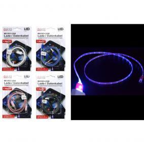 Töltő és adatkábel LED-es, Micro-USB, 1 m (vegyes színben)