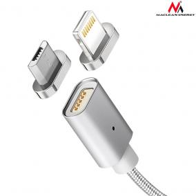 Maclean MCE160 fém, mágneses adatkábel 1m micro USB Quick & Fast Charge silver