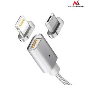 Maclean MCE161 fém, mágneses adatkábel 1m micro USB Quick & Fast Charge silver - Iphone 5