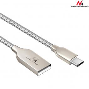 Maclean MCE192 Cable USB Type-C metal silver Quick & Fast Charge, 1m