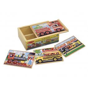 Melissa & Doug Fa készségfejlesztő játék, Puzzlek dobozban, járművek
