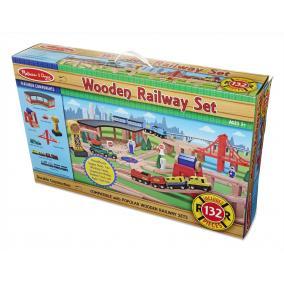 Melissa & Doug Fa vonatok és sínek, Vonat és sínek és kiegészítők, 132 db-os szett