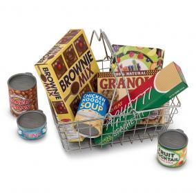 Melissa & Doug Szerepjáték kellékek, Bevásárlókosár élelmiszerekkel