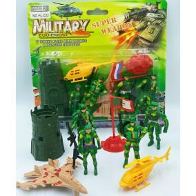 Műanyag katonai játék szett, 8 darabos